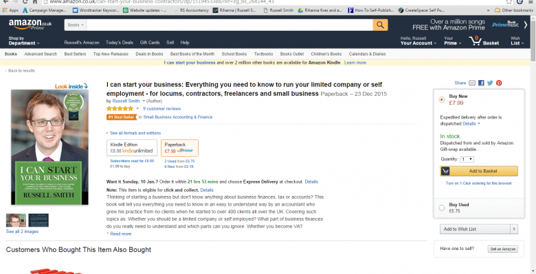 My book has just hit number one in the Amazon Small Business Accounting & Finance category…