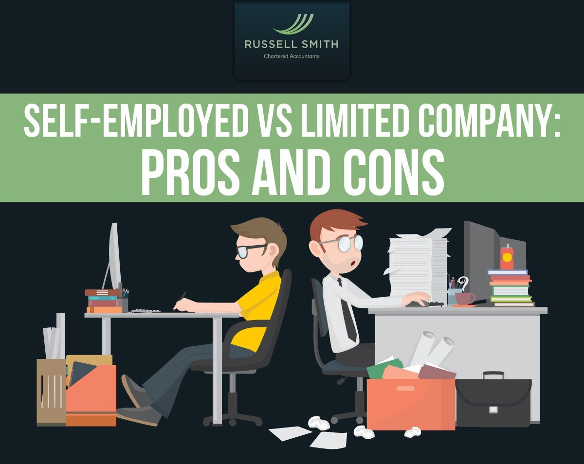 Infographic on the pros and cons of self employed vs limited company for small businesses in the UK